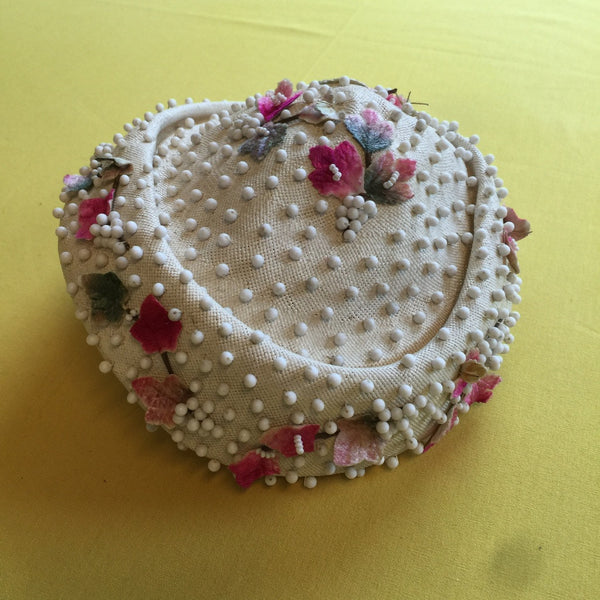 White Straw Hat with Pink Silk Flowers