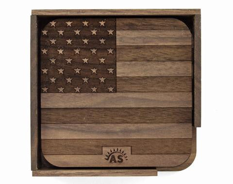 Wooden Coasters, American Flag
