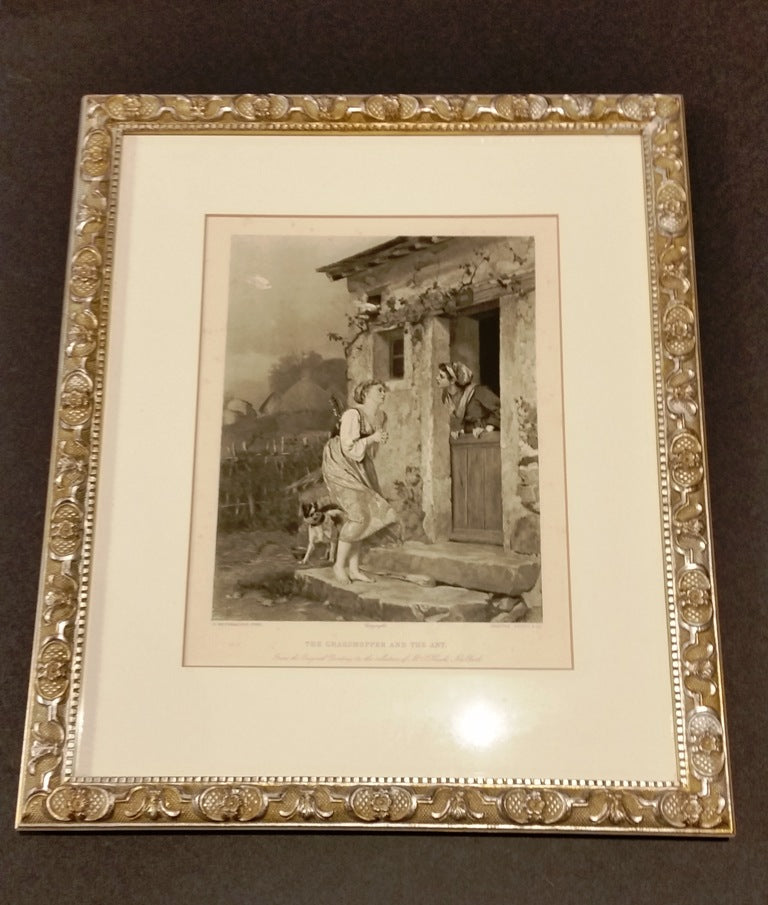"Framed Print ""The Grasshopper & the Ant"" Reproduction"