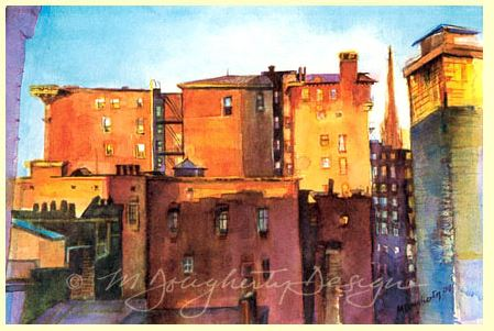 M.Dougherty Watercolor Print - Sunrise Cityscape