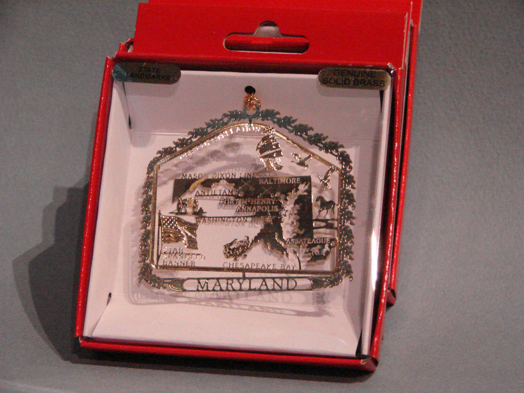 Maryland State Brass Ornament, Boxed