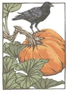 Arts & Crafts Press Single Notecard - Pumpkin & Crow