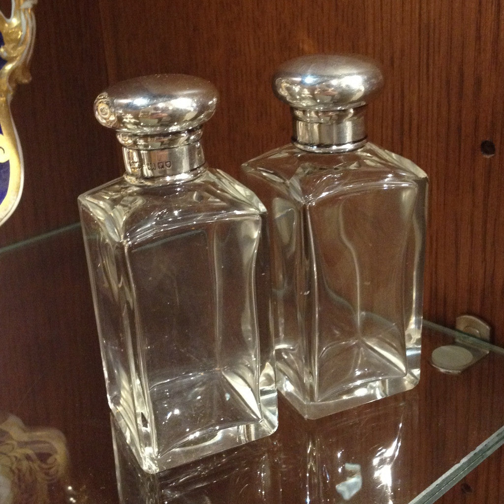 Pair of English Cut Glass Bottles w/ Screw Tops