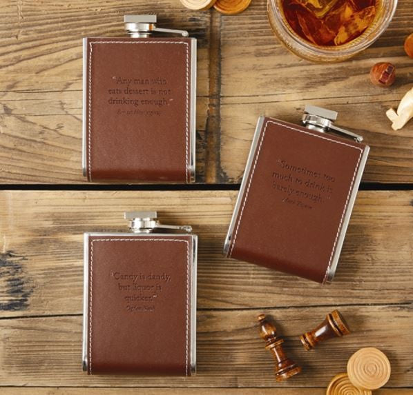 Leather Flask with Quotation, Assorted