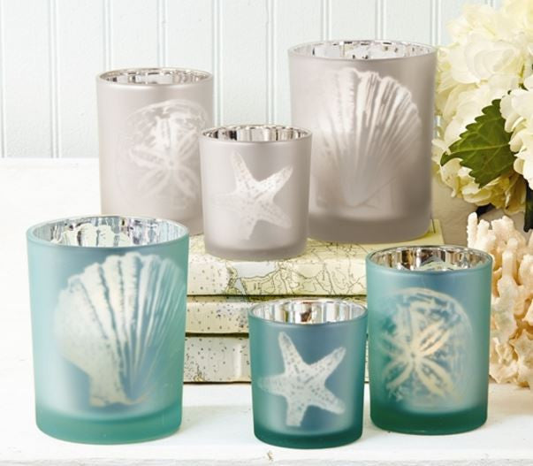 Frosted Aqua Candleholder, Assorted