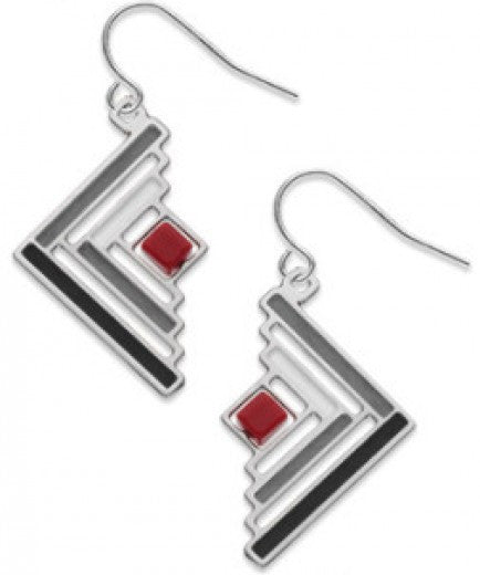 Log Cabin Quilt Pattern Earrings - Red