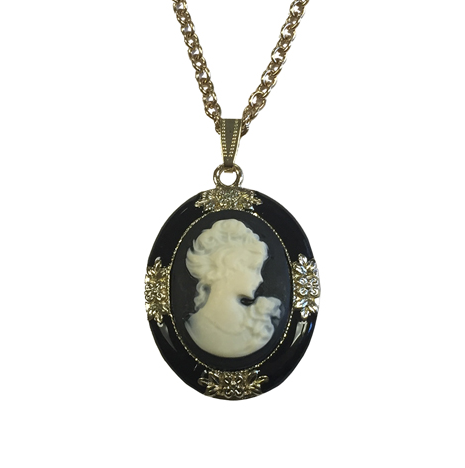 Cameo Necklace, Black