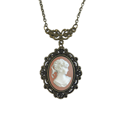 Cameo Necklace, Pink