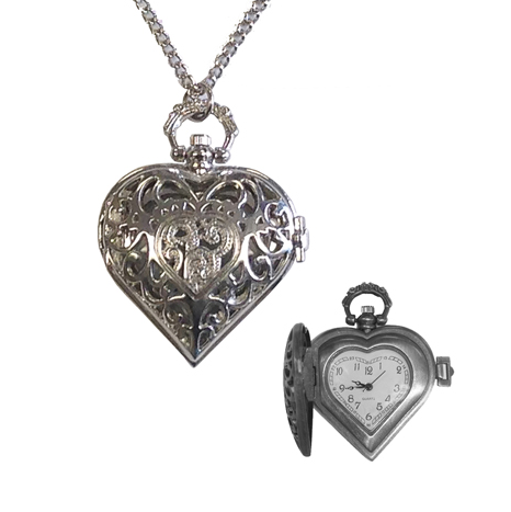 Heart-Shaped Watch Necklace, Silver