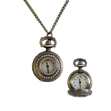 Watch Necklace with Rhinestones