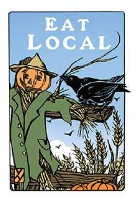 Arts & Crafts Press Single Notecard - Eat Local