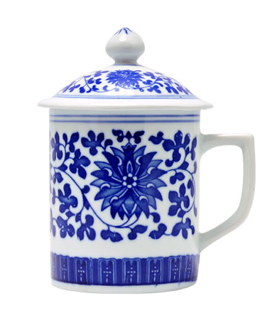 Tea Cup with Lid, Blue Floral