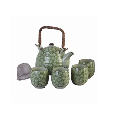Ceramic Tea Set, Green Floral