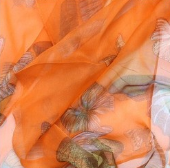 Silk Scarf with Butterflies, Assorted Colors