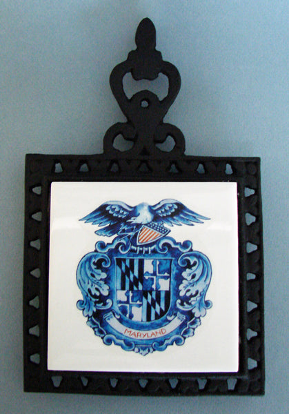 'Delft Maryland Shield' Cast Iron Trivet