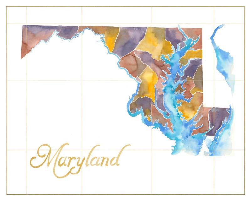 Watercolor Maryland Print, Matted