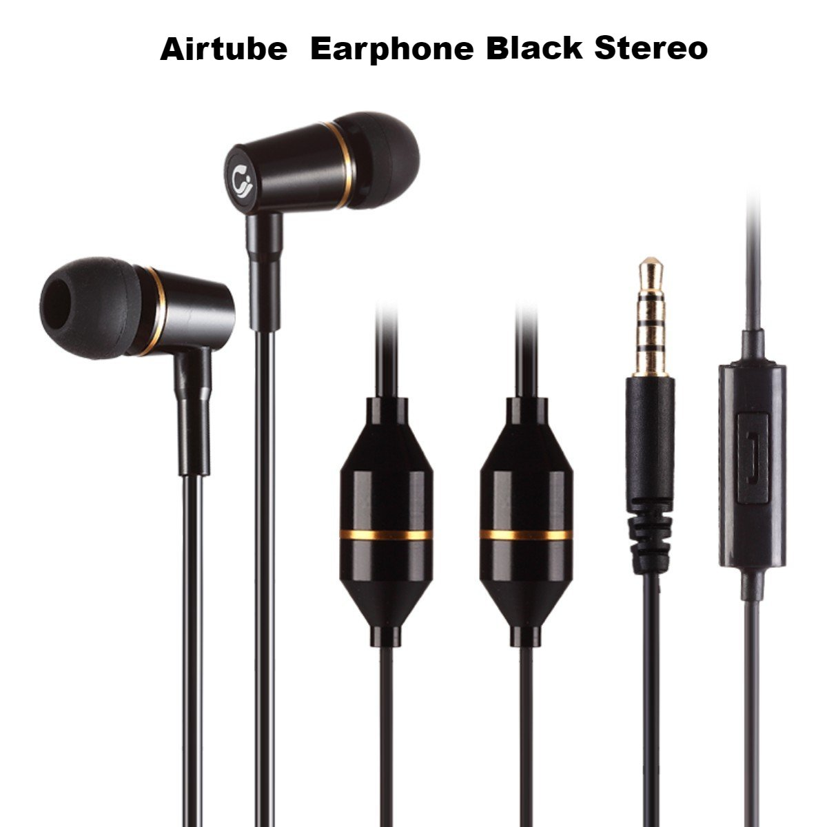 Airtube earphone black stereo
