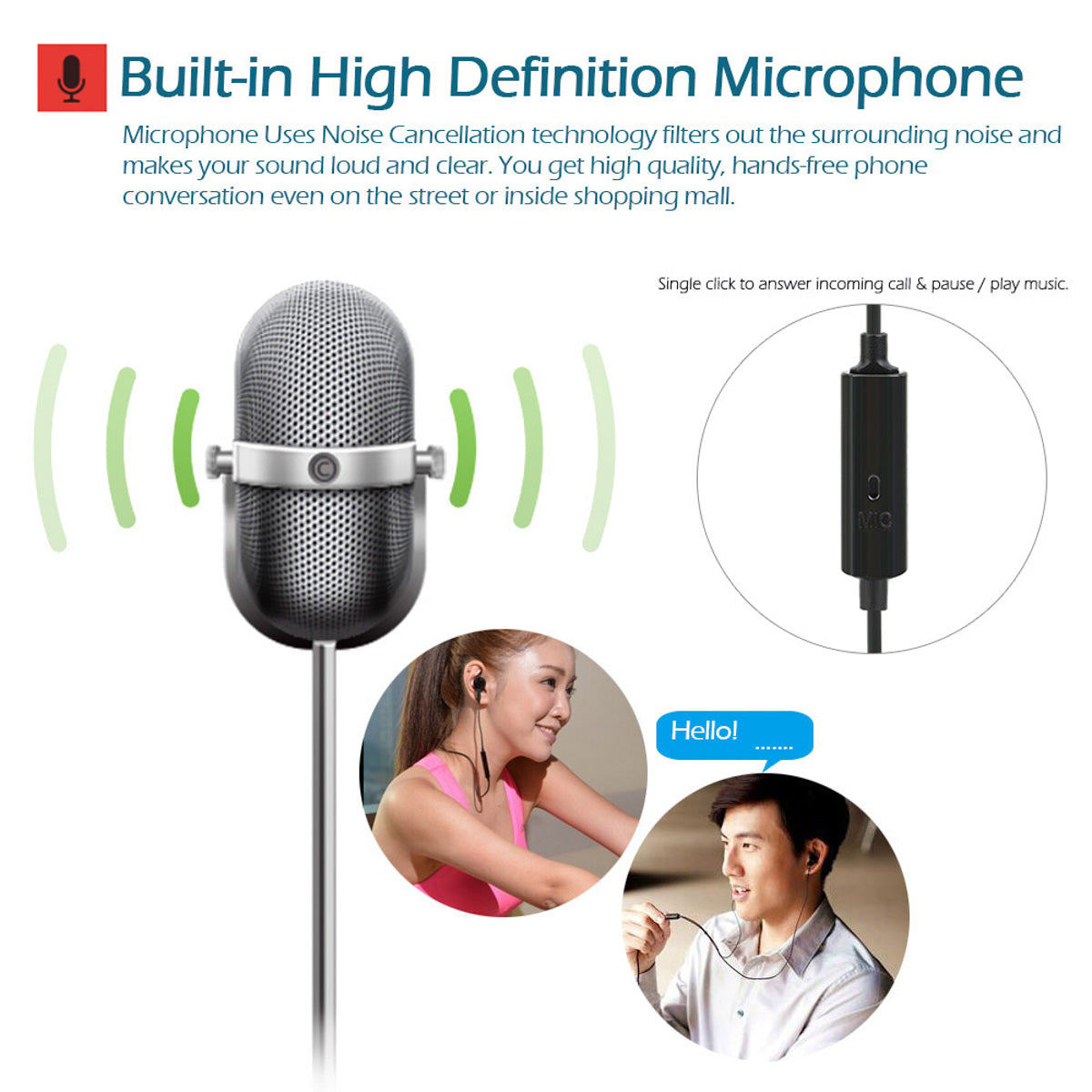 White Radiation Free Earphone - Air Earphone (Less radiation by 99.9%)