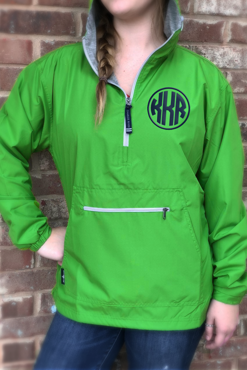 Monogram Raincoat: Kelly Green/ Navy