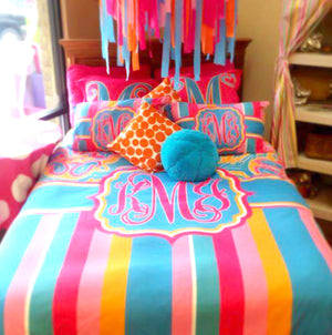 KK's Custom Bedding: Colorful Stripes/ Paisley