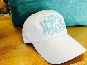Monogram Baseball Hat: White/ Seafoam Vine