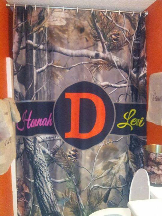 Monogram Shower Curtain: Camo