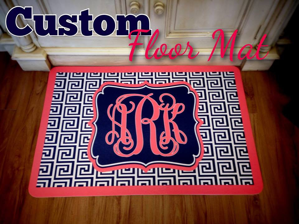 Monogram Mat: Geo/ Royal Blue & Hot Pink