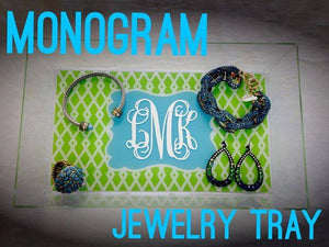 Monogram Jewelry Tray: Lime Green/ Aqua