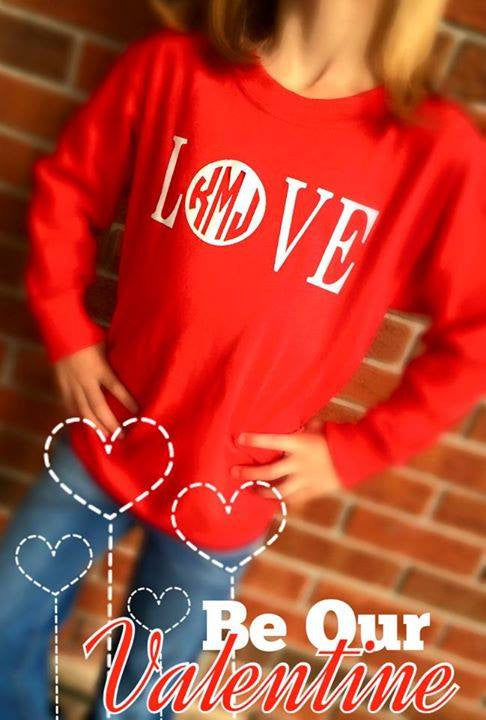 MINI-MONOGRAMS- Long Sleeve T-Shirt: Red/ Love