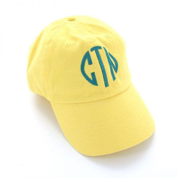 Monogram Baseball Hat: Yellow/ Teal Interlocking