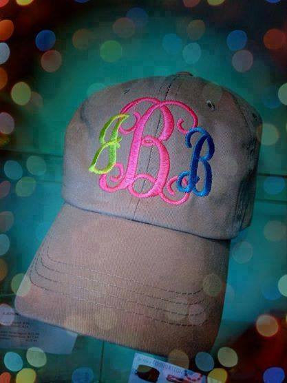 Monogram Baseball Hat: Khaki / Multi