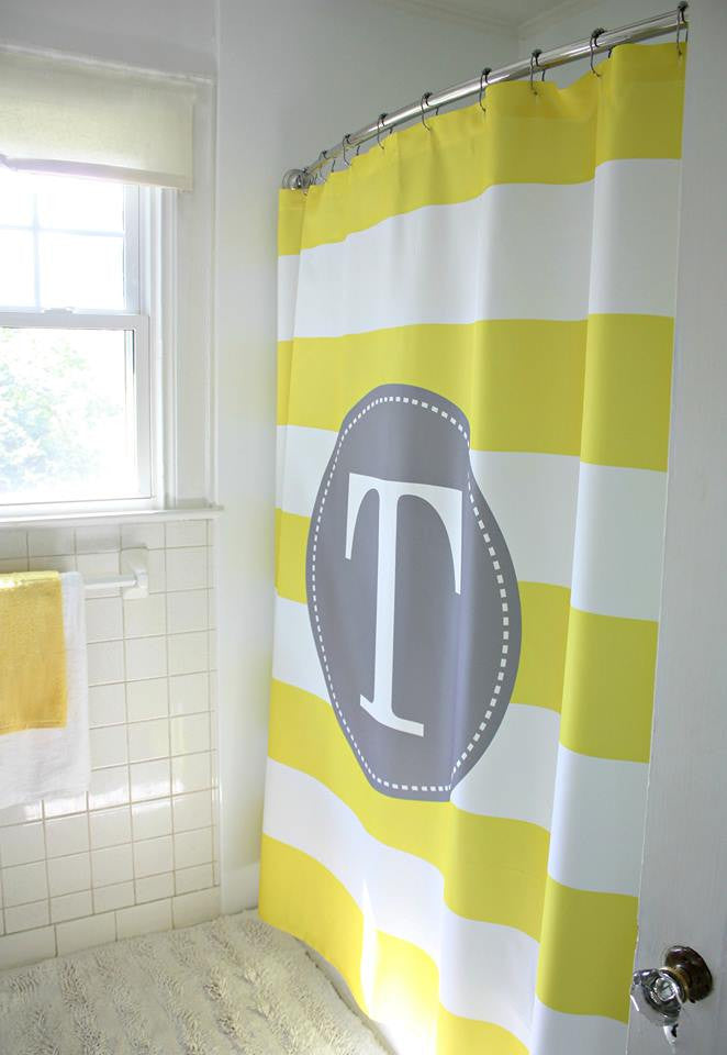 Monogram Shower Curtain: Yellow/ White Stripe: Grey