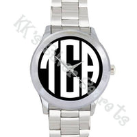 Monogram Watch: Black Face/ White Circle