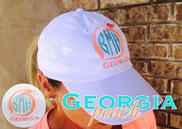 Monogram Baseball Hat: White/ Peach State Pride
