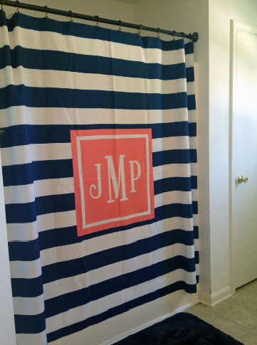 Monogram Shower Curtain: Navy/ White Stripe