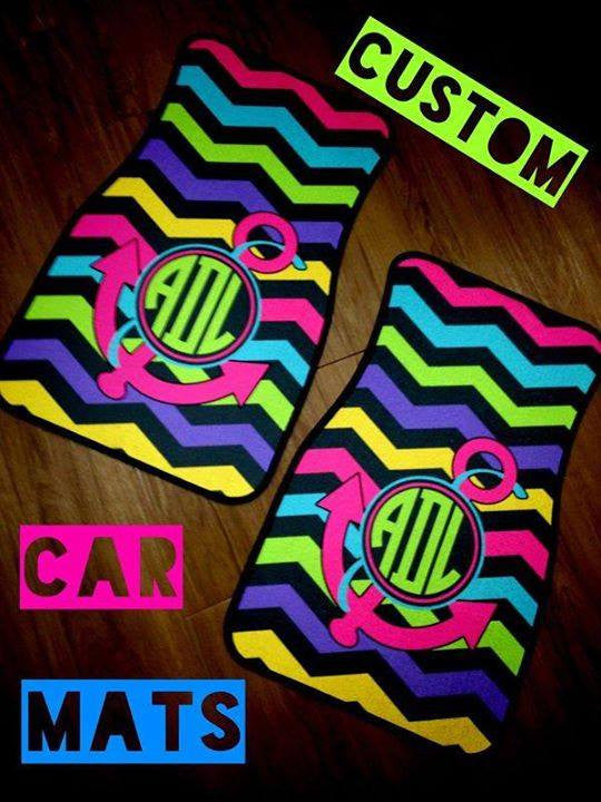 Monogram Car Mats: Neon Chevron/ Anchor