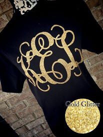 Classic Monogram Short Sleeve T-shirt: Black/ Gold Glitter