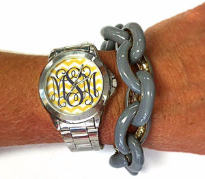 Chevron Monogram Watch: Yellow/ Charcoal Grey