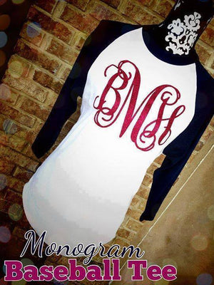 Monogram Baseball Tee: Navy & White/ Cherry Pink Glitter