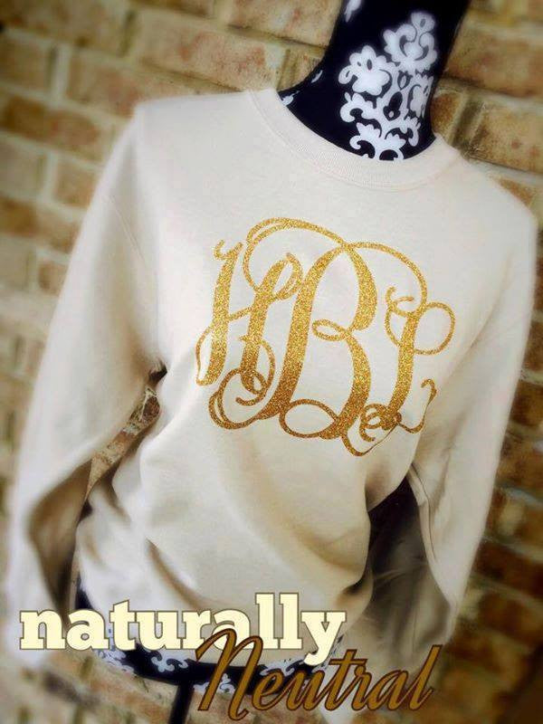 Monogram Sweatshirt: Neutral/ Gold Glitter