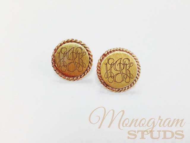 Monogram Stud Earrings: Gold