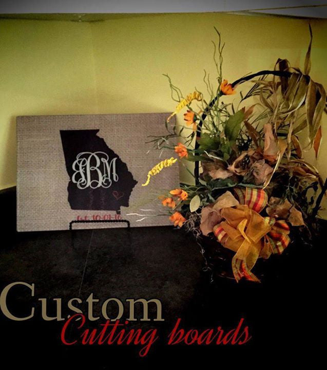 Monogram Cutting Board: Faux Burlap