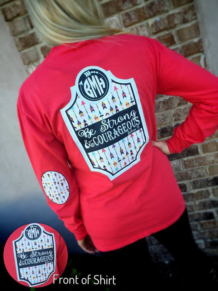 Be Strong & Courageous Elbow Patch RED Long Sleeve Shirt