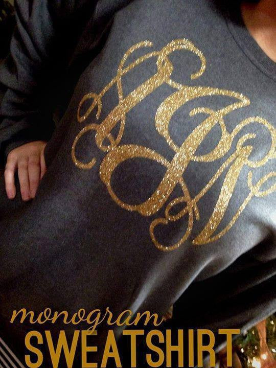 Monogram Sweatshirt: Charcoal Gray/ Gold Glitter