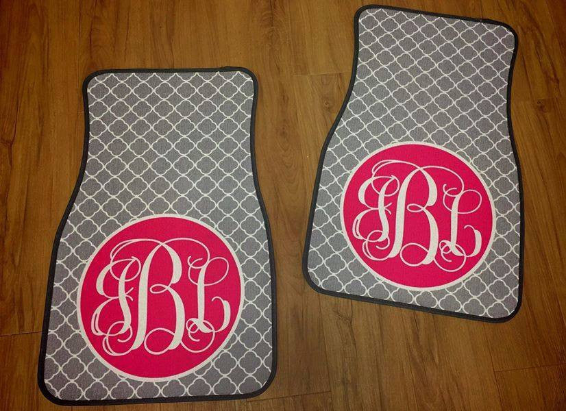 Monogram Car Mats: Gray/ Pink