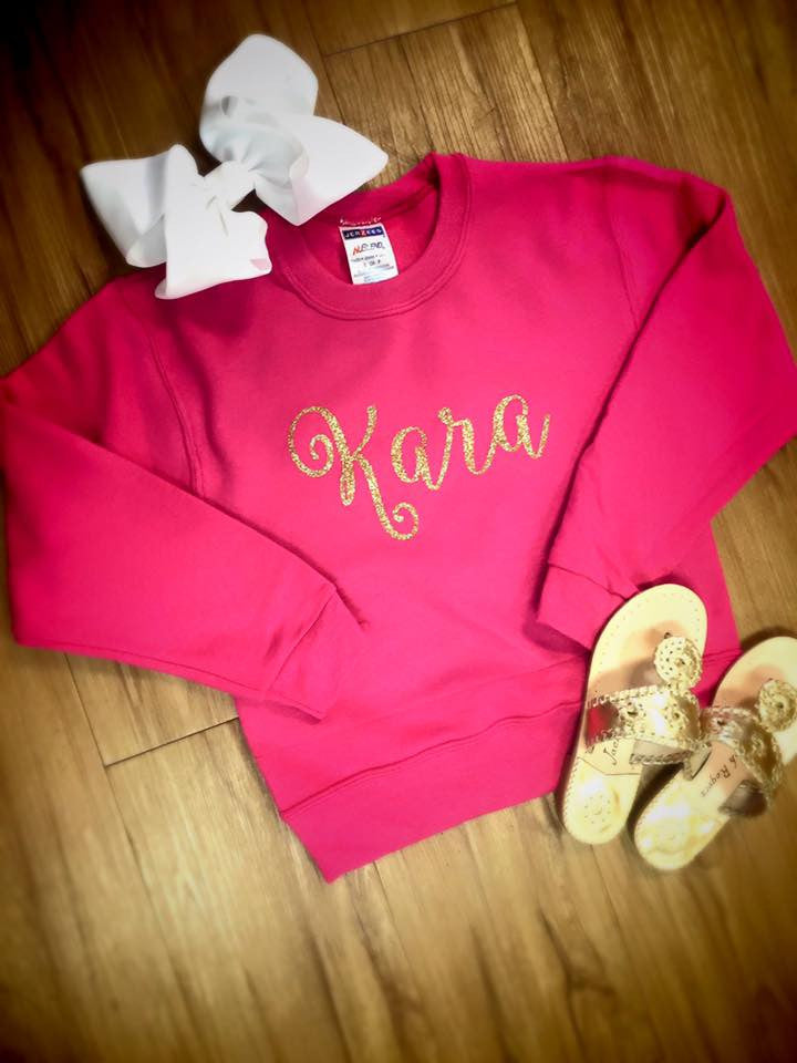 MINI-MONOGRAMS- Hot Pink Sweatshirt: Name/Gold Glitter