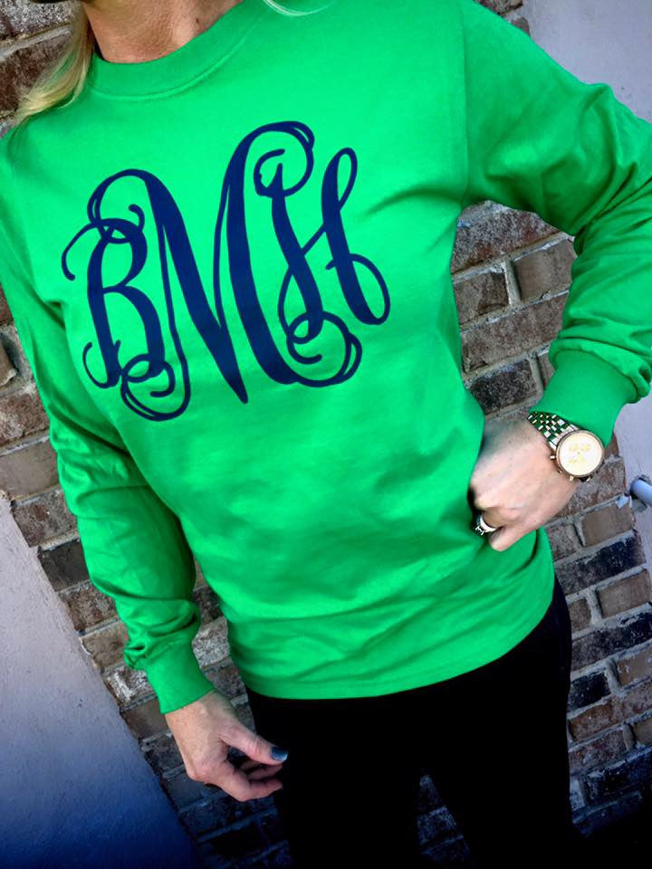 GREEN WITH ENVY Monogram Long Sleeve Shirt: Kelly Green/Matte Navy