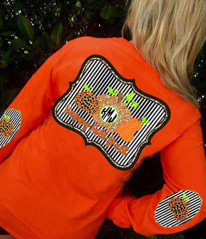 Happy Fall Yall Monogram Elbow Patch Long Sleeve Shirt: Pumpkin Patch