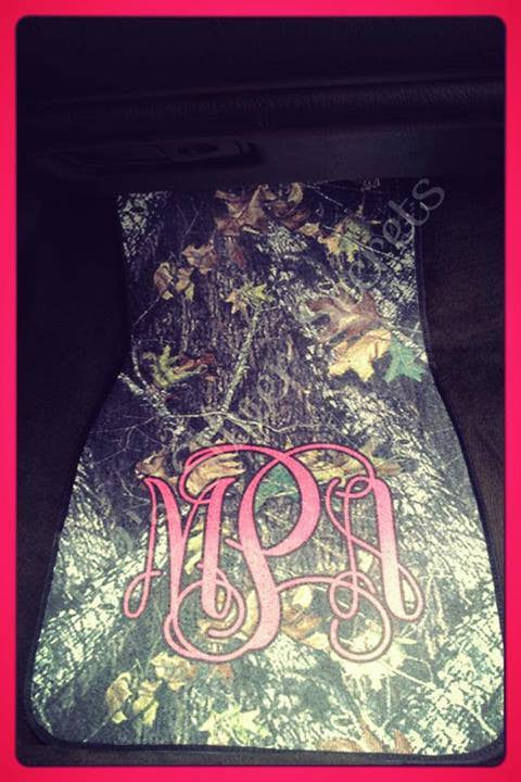Monogram Car Mats: Camo / Hot Pink