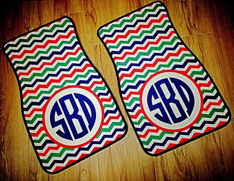 Monogram Car Mats: Neon Chevron/ Circle